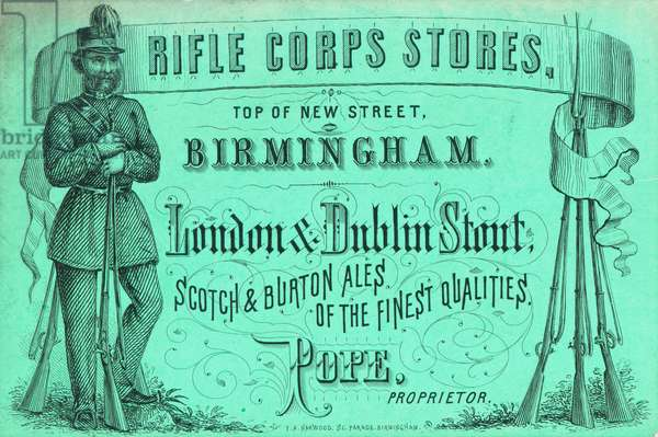 Trade card, Rifle Corps Stores (engraving)