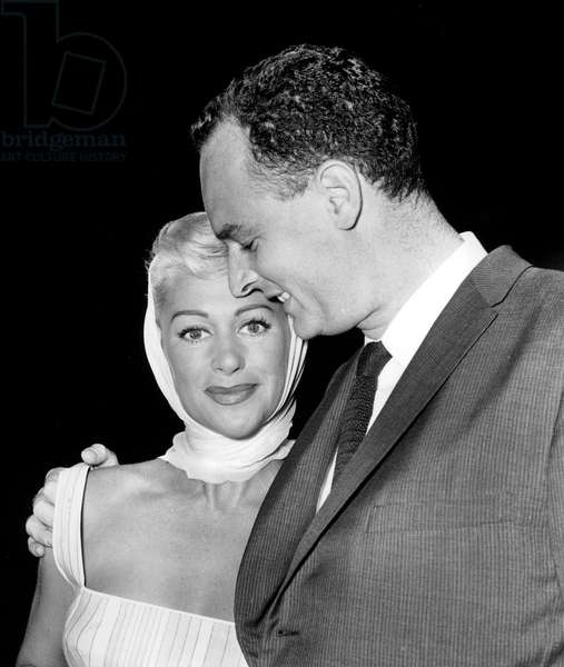 French Actress Martine Carol With 3Rd Husband Doctor Andre Rouveix September 10, 1959 (b/w photo)