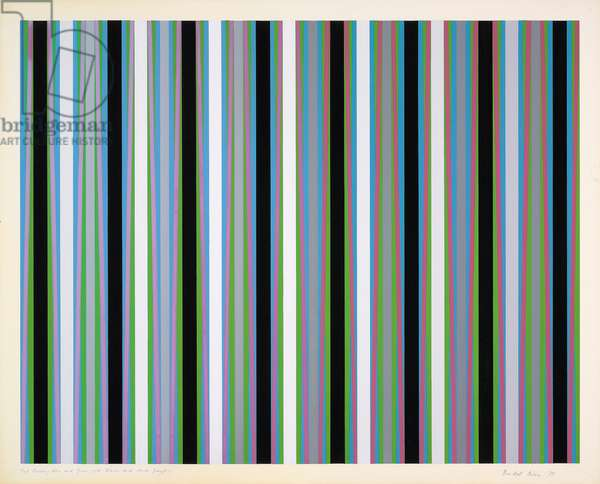 Red Crossing Blue and Green, with Blacks and Dark Greys, 1975 (gouache)