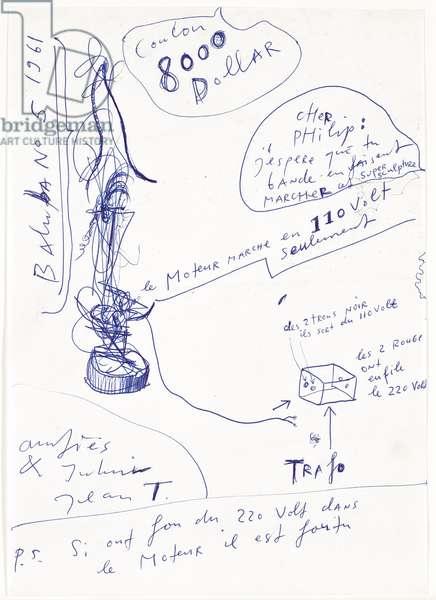 Baluba No. 5, 1961 (ballpoint pen on paper)