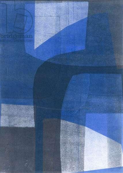Blue Arches VI, 2015, (monoprint on paper)