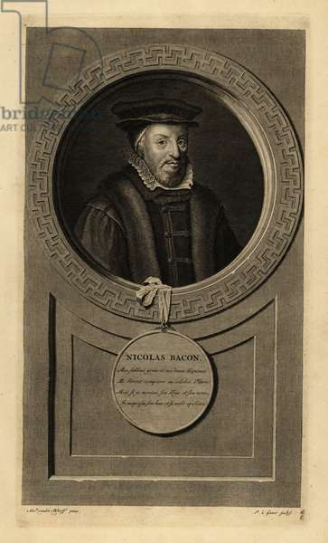 Sir Nicholas Bacon, Lord Keeper of the Great Seal, English politician. Nicolas Bacon. Copperplate engraving by Pieter Stevens van Gunst after Adriaen van der Werff from Isaac de Larrey's Histoire d'Angleterre, d'Ecosse et d'Irlande, Amsterdam, 1730.