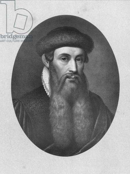 JOHANN GUTENBERG (1400?-1468?). German printer. Line engraving.