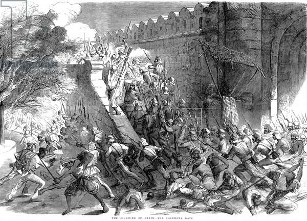 Indian (Sepoy) Mutiny, also known as the Sepoy Mutininy or the Great War of Independence: Siege of Delhi: Colonel Campbell's troops storming the Cashmere Gate after engineers had blown it up. From Illustrated London News 1857. Wood engraving.