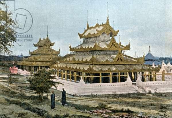 Pagodas at Mandalay, Burma, engraved by Gillot, c.1900 (photogravure)