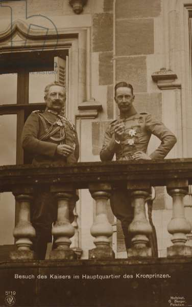 Kaiser Wilhelm II of Germany visiting the headquarters of his son, Crown prince Wilhelm, during the First World War, 1914-1918 (b/w photo)