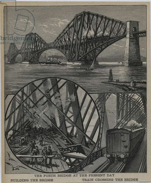 Forth Rail Bridge, Scotland, built between 1883 and 1890. Engraving