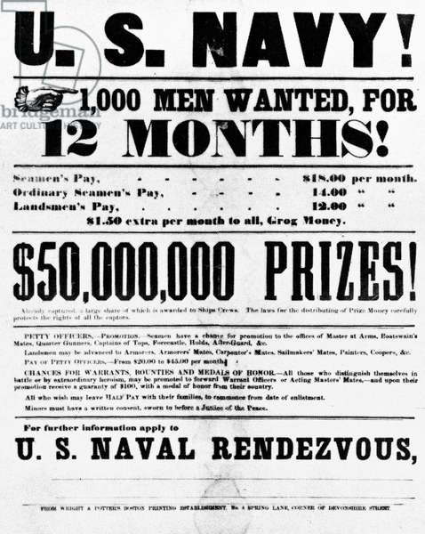 CIVIL WAR: RECRUITING Broadside calling for volunteers for the Union Navy.