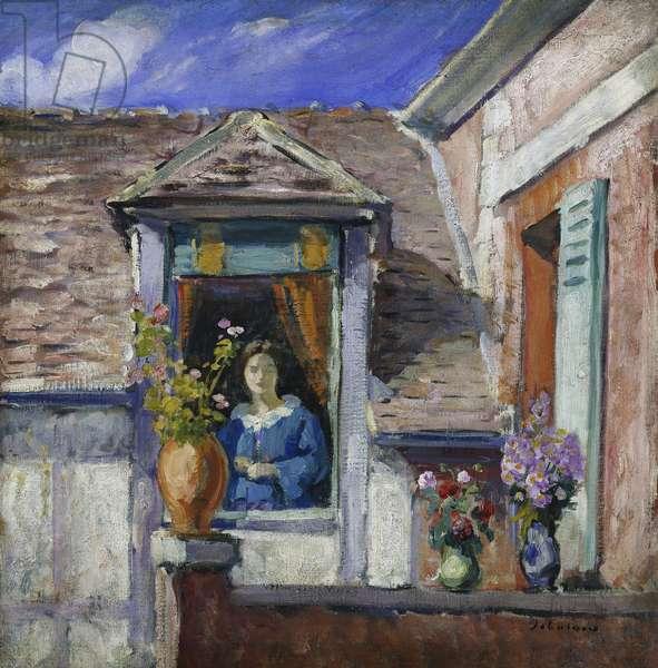 Woman at the window; Femme a la Fenetre, (oil on canvas)