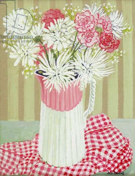 White Chrysanthemums and Spray, 2008, (gouache)