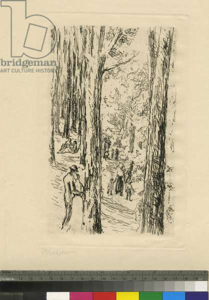 Strolling in the Tiergarten, c.1870-1935 (etching)