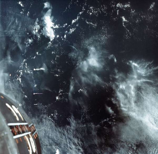 EARTH FROM SPACE, 1965 A view of the Pacific Ocean from space. Photographed by astronauts aboard Gemini VII, 1965.