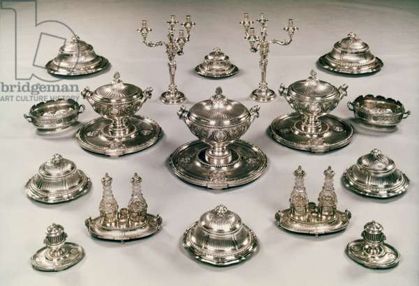 SILVER TABLE SERVICE, c.1780 Made for King George III of England by the French silversmith R.-J. Auguste.
