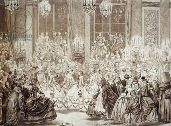 Masked Ball at Versailles during reign of Louis XV (1710-1774), France, 18th century