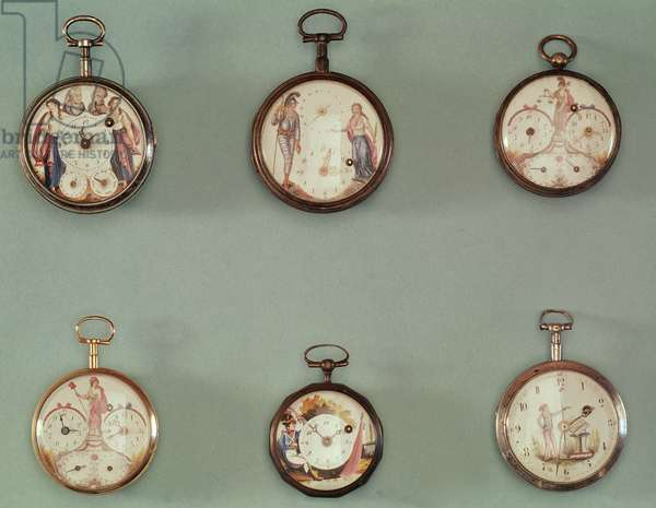 Six pocket watches decorated with Revolutionary symbols (metal & enamel)