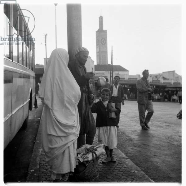 At the bus terminal, Tangier, early 1960's (b/w photo)