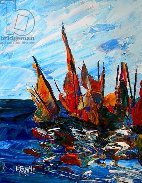 Voiliers au port a bainet, 2009 (acrylic on wood)