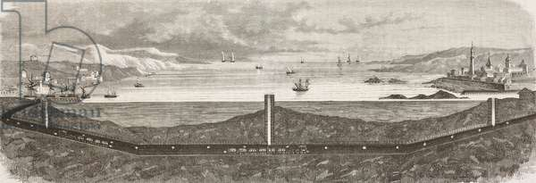 Drawing of tunnel under English Channel, engraving from L'Illustrazione Italiana, Year 3, No 18, February 27, 1876