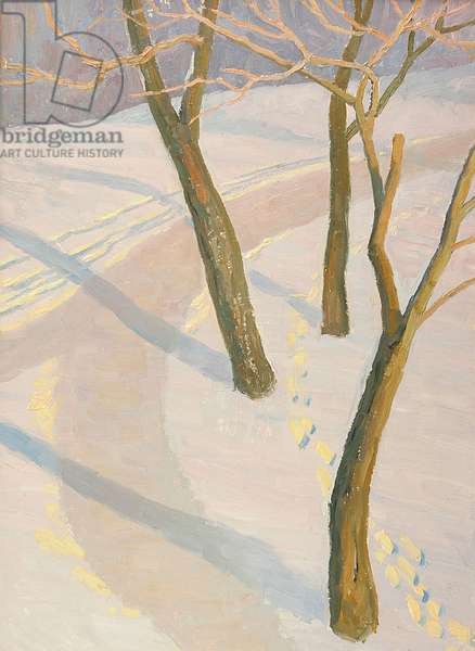 The Boulevard in Winter, Moscow, 1970 (oil on card)
