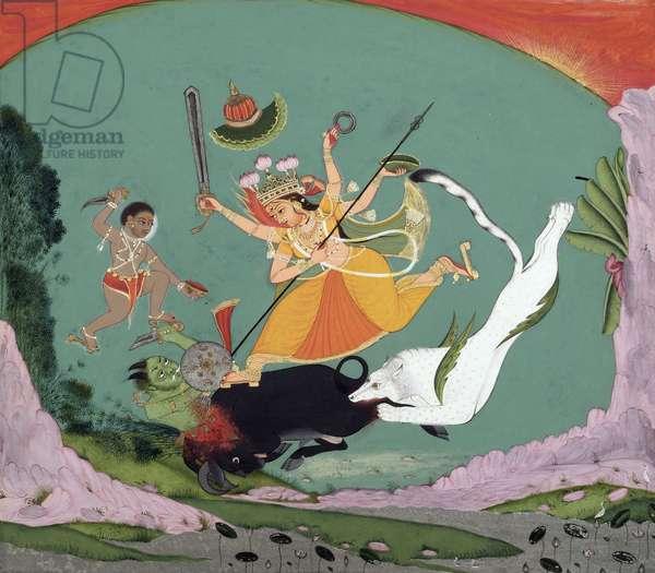 The Great Goddess Durga Slaying the Buffalo Demon (Mahishasuramardini), c.1750 (opaque w/c & gold- & silver-colored metallic paint on paper)