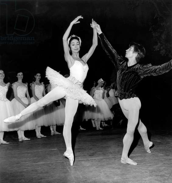 Nureyev and Margot Fonteyn Performing Ballet Swan Lake in Paris November 4, 1963 in Paris (b/w photo)