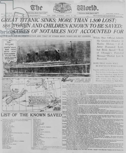 Photograph of front page of The world 16 April 1912 headlining the sinking of the Titanic