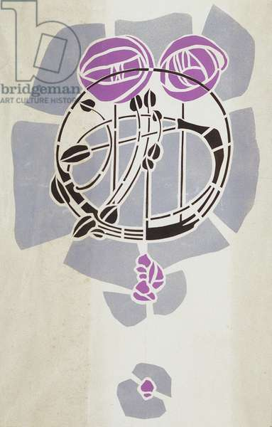 Modern Reproduction from Original Mackintosh Stencil for Wall Decoration, Rose motif, 1902 (poster color on cartridge paper)