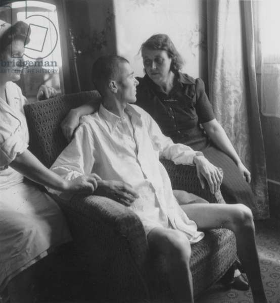 Prisoner Interned in A Concentration Camp Getting Treatment in Lutetia Hotel After his Repatriation in Paris in 1945 (b/w photo)