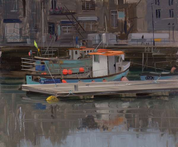 Boat with yellow flag, Padstow, January