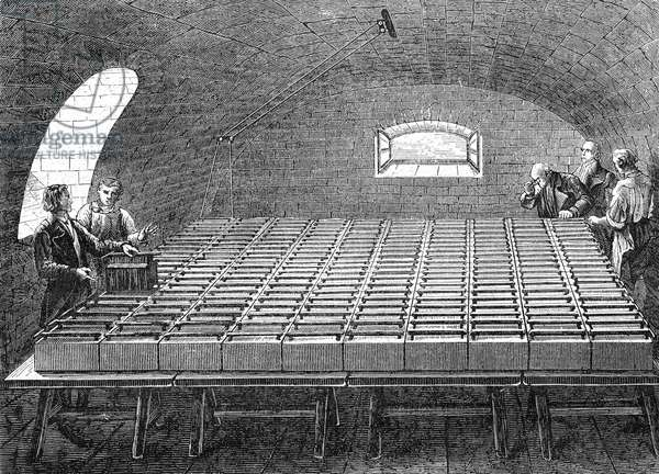 Big Wollaston battery made by William Hyde Wollaston (1766-1828) in 1807, engraving
