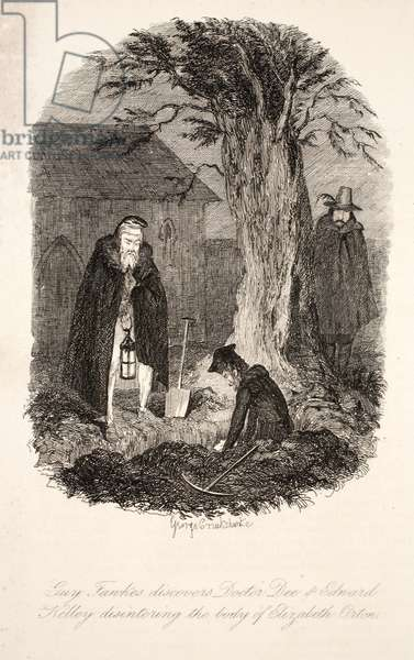 Guy Fawkes discovers Doctor Dee & Edward Kelley disintering the body of Elizabeth Orton,illustration from