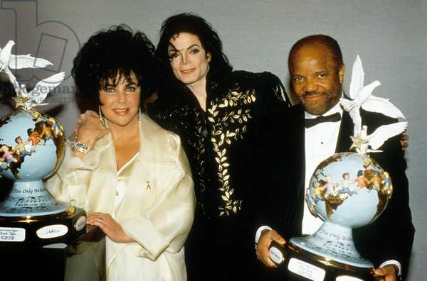 Liz Taylor, Michael Jackson and Berry Gordy on February 22, 1994 at