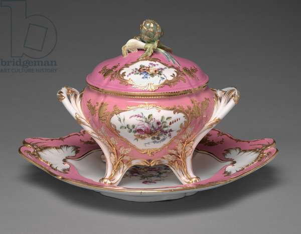 Tureen and Platter, 1757 (soft-paste porcelain with enamel and gilt)