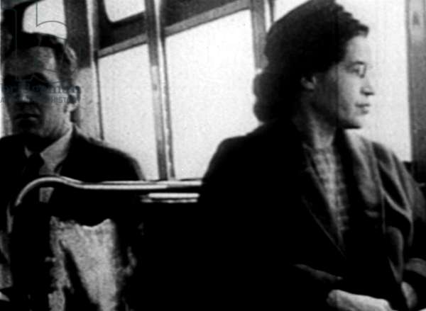 Rosa Parks, on the bus, 1956
