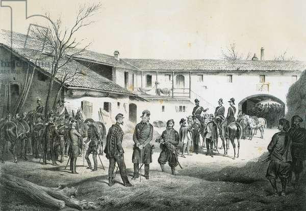 Victor Emmanuel II and General Josef Radetzky signing armistice at Vignale, engraving, 19th century