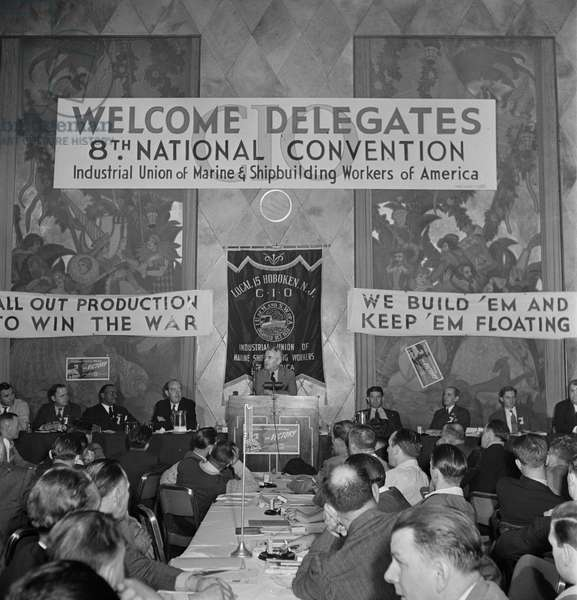 Walter Nash, Minister of New Zealand to the U.S., Speaking about Labor Situation in his Country, Marine and Shipbuilding Workers' Convention, New York City, New York, USA, Marjorie Collins for Office of War Information, September 1942