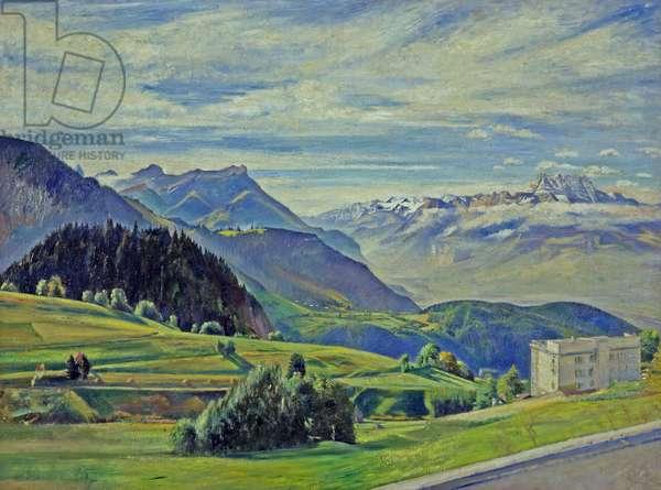 Le Dent du Midi from Leysin, Switzerland (oil on canvas)