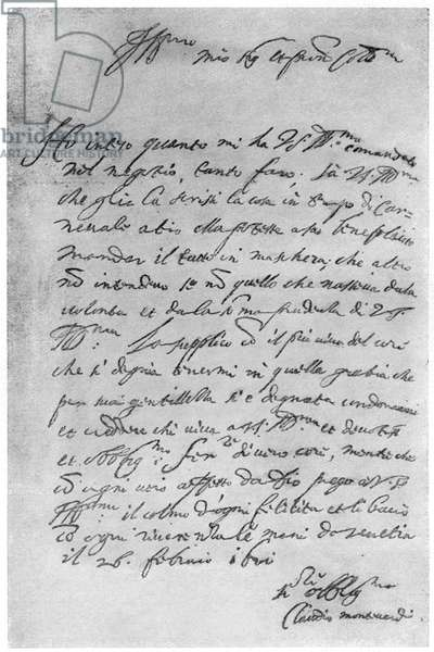 Letter written by Claudio Monteverdi