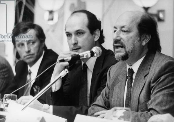 Former Chairman of French Tv Channel Herve Bourges during Press Conference in Which He Drew A Closing Balance Before Transfer of Power To New Chairman Francis Bouyges April 6, 1987 (b/w photo)
