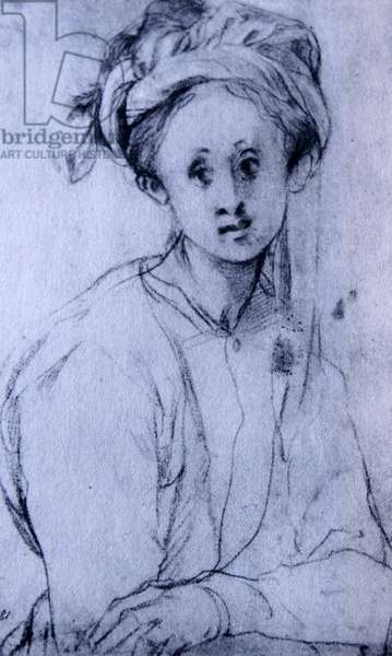 Chalk drawing titled 'Study of a Young Girl' by Pontormo