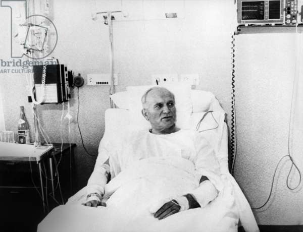 Pope John Paul II (Karol Wojtyla) at the hospital after assassination attempt by Ali Agca in Rome on may 13, 1981