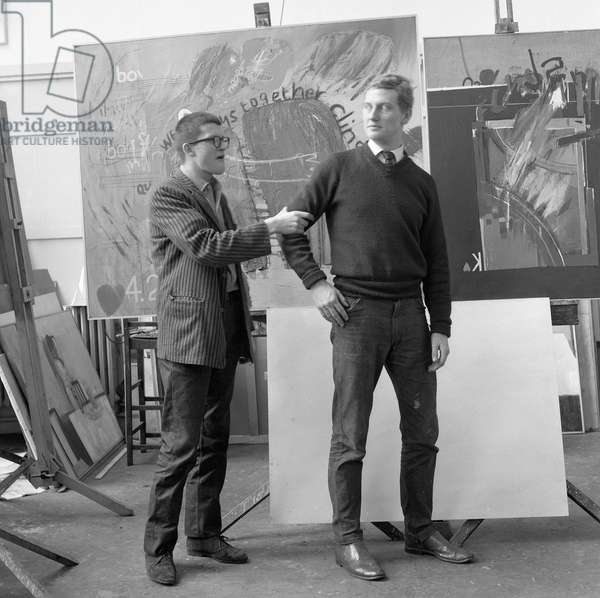 'We two boys together, clinging', the artists Derek Boshier and David Hockney posing at the Royal College of Art in 1962 (photo)