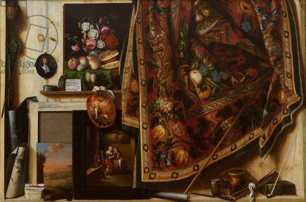 Trompe l'oeil. A Cabinet in the Artist's Studio, 1670-71 (oil on canvas)