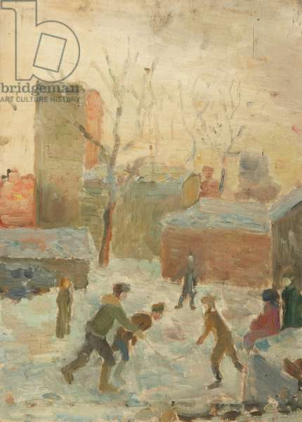 Playing Hockey in the Yard, 1940s (oil on panel)