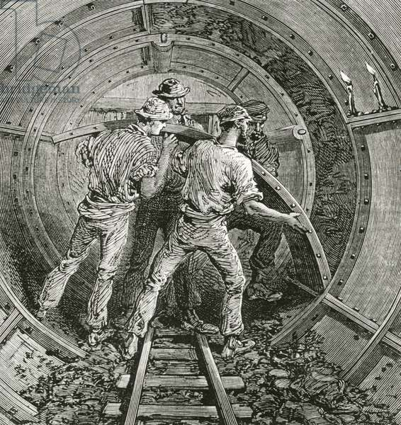 Workers building Thames subway