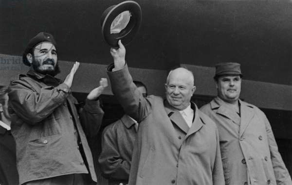 Fidel Castro and Nikita Khrushchev Responding to the Cheers of the Crowd at the Opening of the Summer Sports Season at the V, I, Lenin Central Stadium in Moscow, April 1963.
