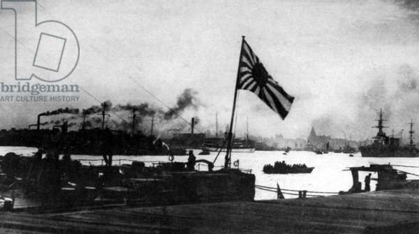 China: A Japanese cruiser moored in Shanghai, February 1932.