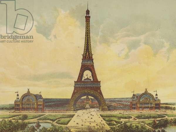 Paris Universal Exhibition and the Eiffel Tower (chromolitho)