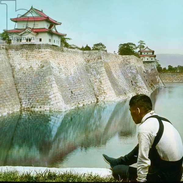 Feudal Shogun Castle, Wall and Moat, Osaka, Japan, Hand-Colored Magic Lantern Slide, Newton & Company, 1920 (photo)