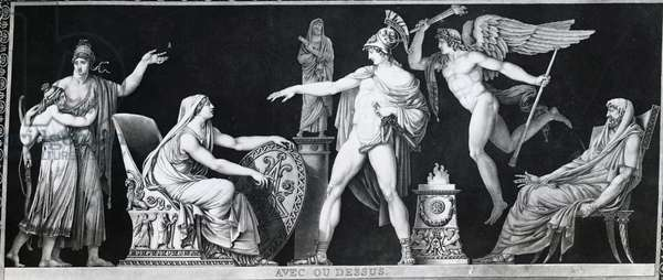 A Spartan mother saying goodbye to her son, by Pierre Michel Alix (1762-1817), aquatint print, 1795, France, 18th century